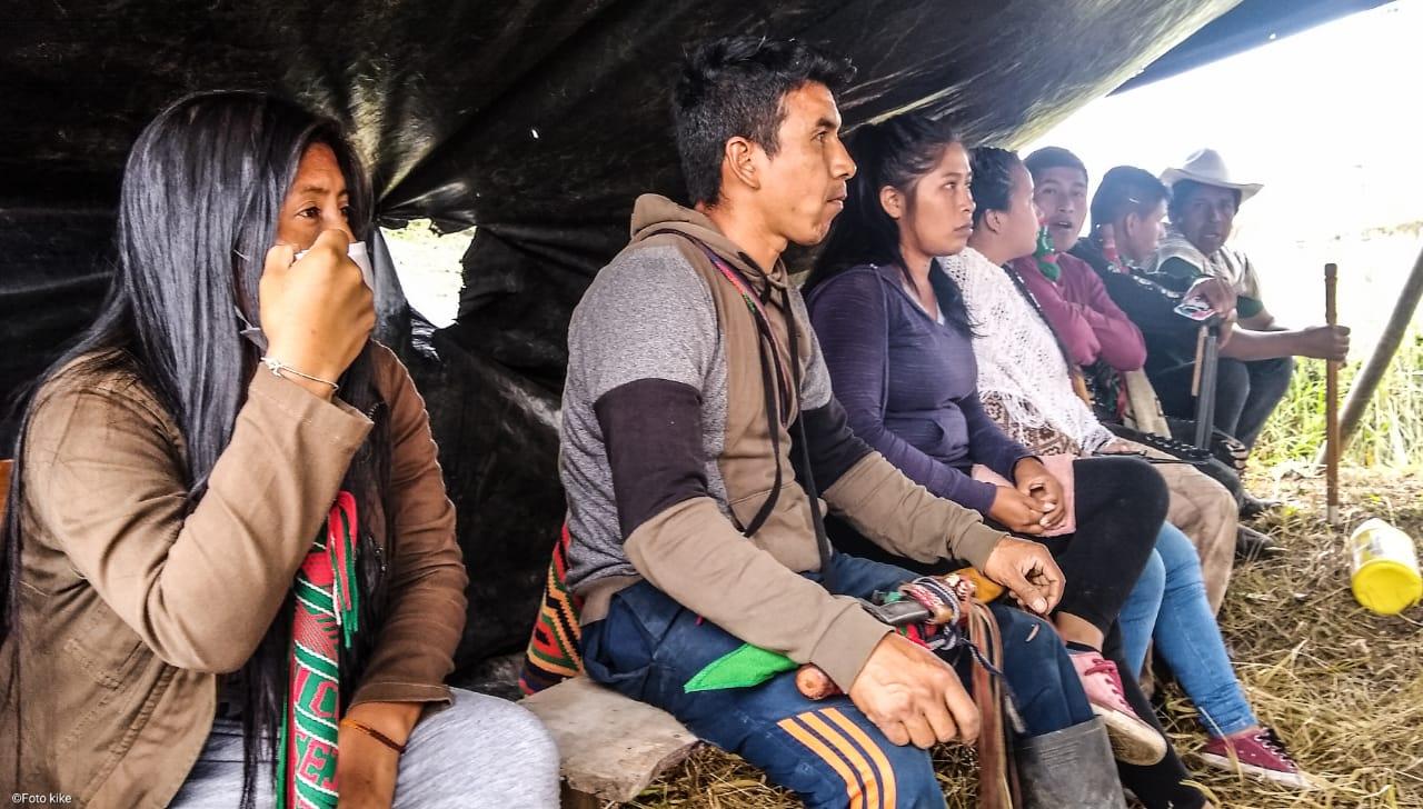 Espacio de formación sobre el SISPI (Sistema Indígena de Salud Propia) en el resguardo de Çxayu'çe, Cajibío, Colombia.