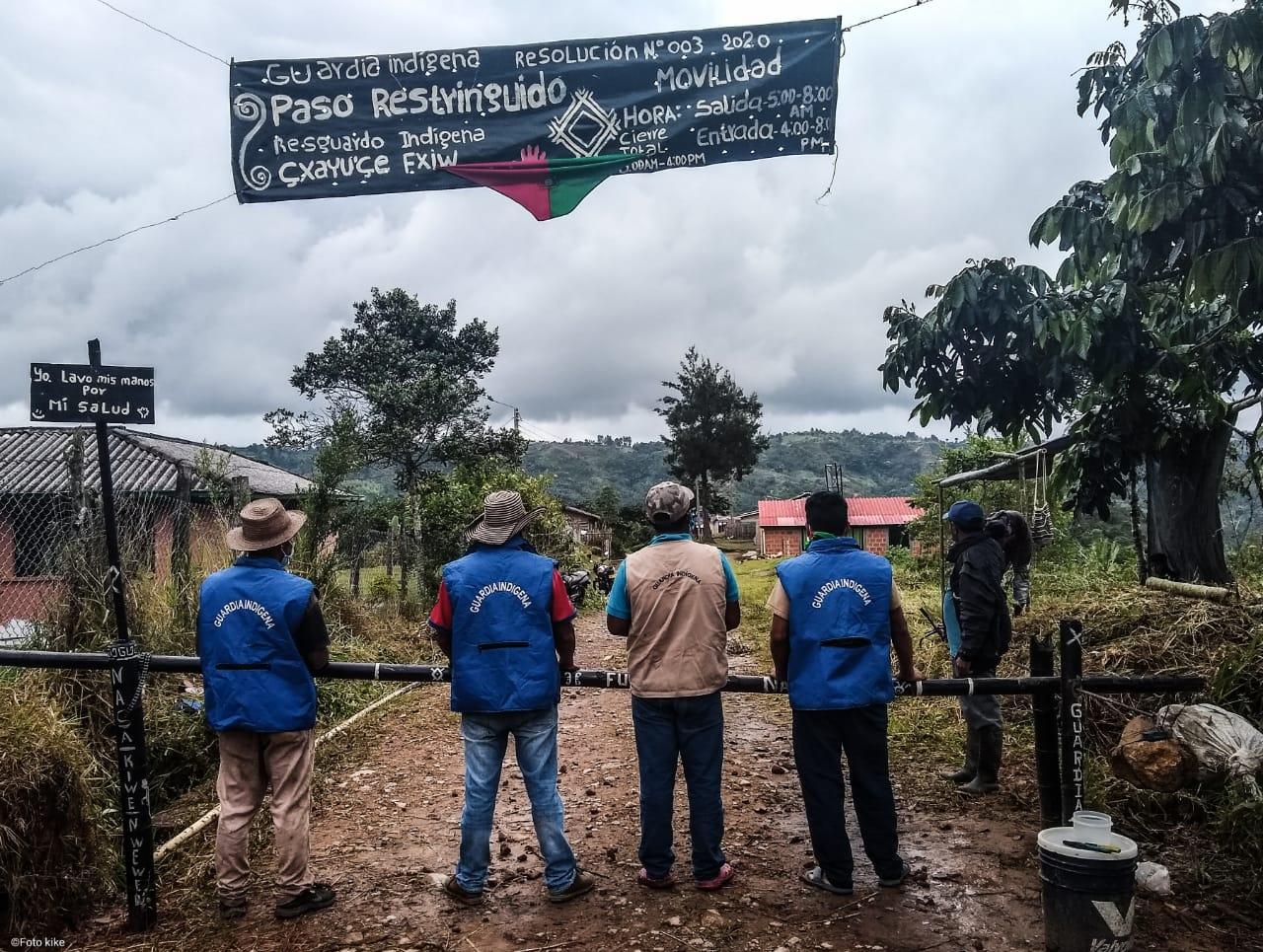 Control territorial en la zona de reasentamiento. Municipio de Cajibío. Territorio de la planta de la alegría.